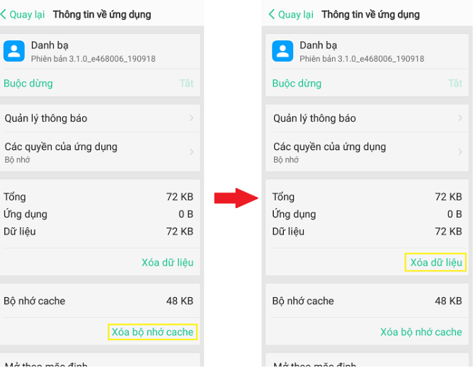Xóa cache danh bạ Android