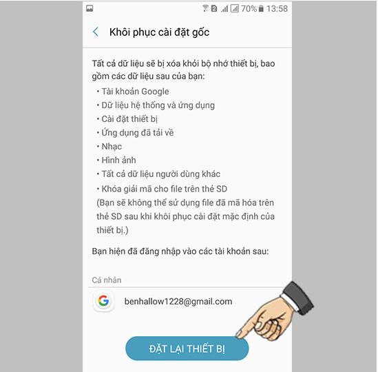 Đặt lại điện thoại android