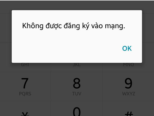 Lỗi SIM không được đăng ký vào mạng