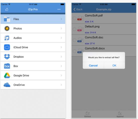 iZip- phần mềm giải nén dưới RAR cho iPhone