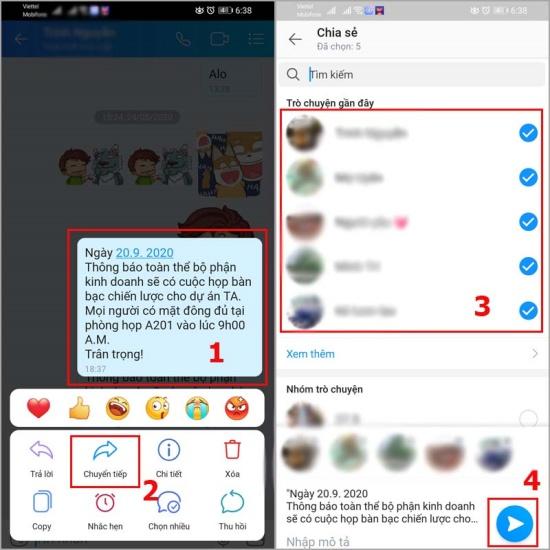 Cách gửi tin nhắn hàng loạt trên iPhone qua ứng dụng Zalo