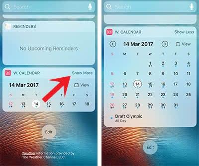 Cách hiển thị lịch trên màn hình iPhone